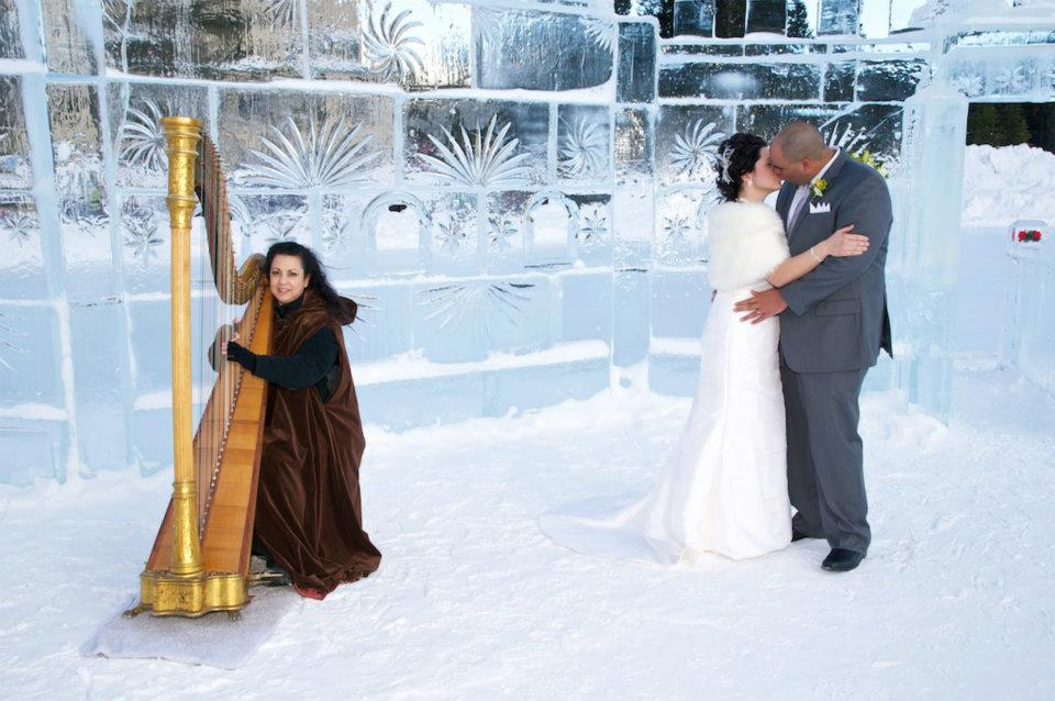 Winter Wedding Harp Angel
